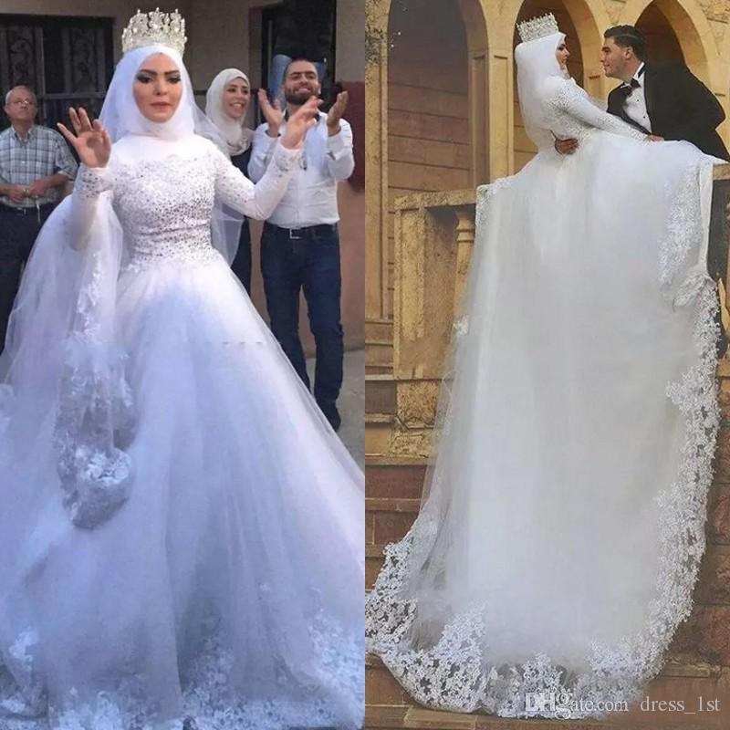 Muslim Wedding Dresses 2018 High Collar Long Sleeve Lace Applique Beads Chapel Train Bridal Gowns Custom Made From China EN12262