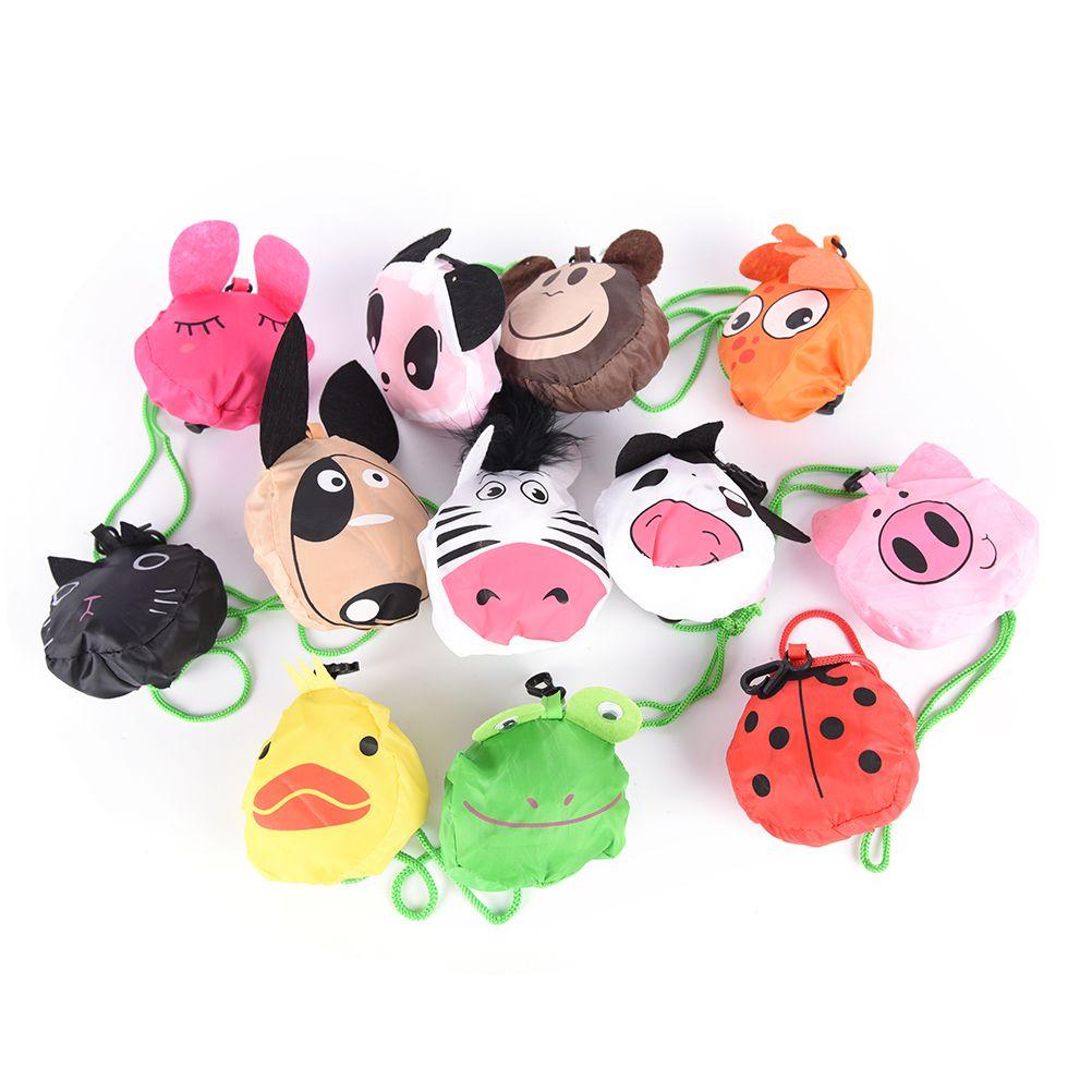 1PC Reusable Eco Foldable Cartoon Animal Panda Frog Pig Bear waterproof Shopping Tote Bag shopping bags Storage Bags
