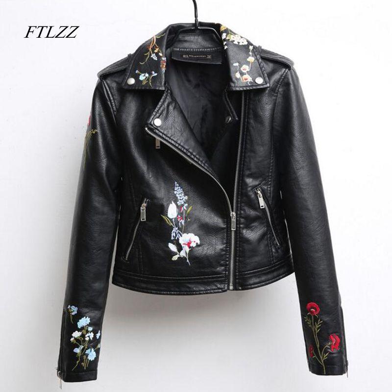 Ftlzz Automne Brodé Veste En Cuir Femmes De La Mode Slim Vintage Pu En Cuir Moto Veste Courte Conception Zipper Noir Manteaux