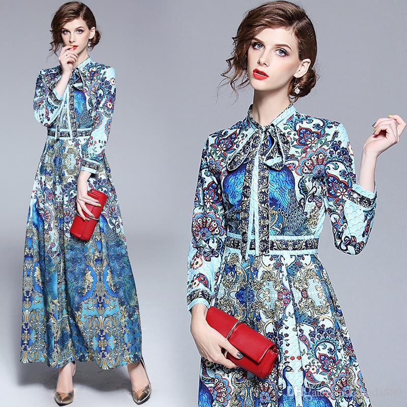 2019 Yaz Güz Pist Moda Tavuskuşu Baskı Papyon Boyun Şerit Uzun Kollu Kadınlar Bayanlar Casual Maxi Tasarımcı Elbiseler