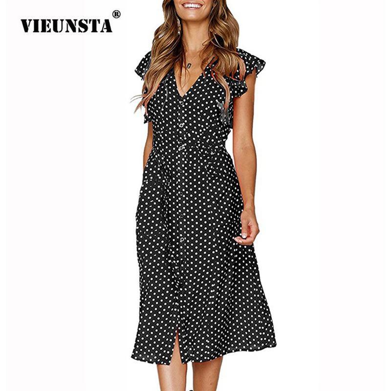 Повседневные платья Vieunsta 2021 в горошек в горошек Летнее платье Женщины сексуальные V-образным вырезом Бабочка Рукав Нерегулярные длинные элегантные сарафры Vestidos