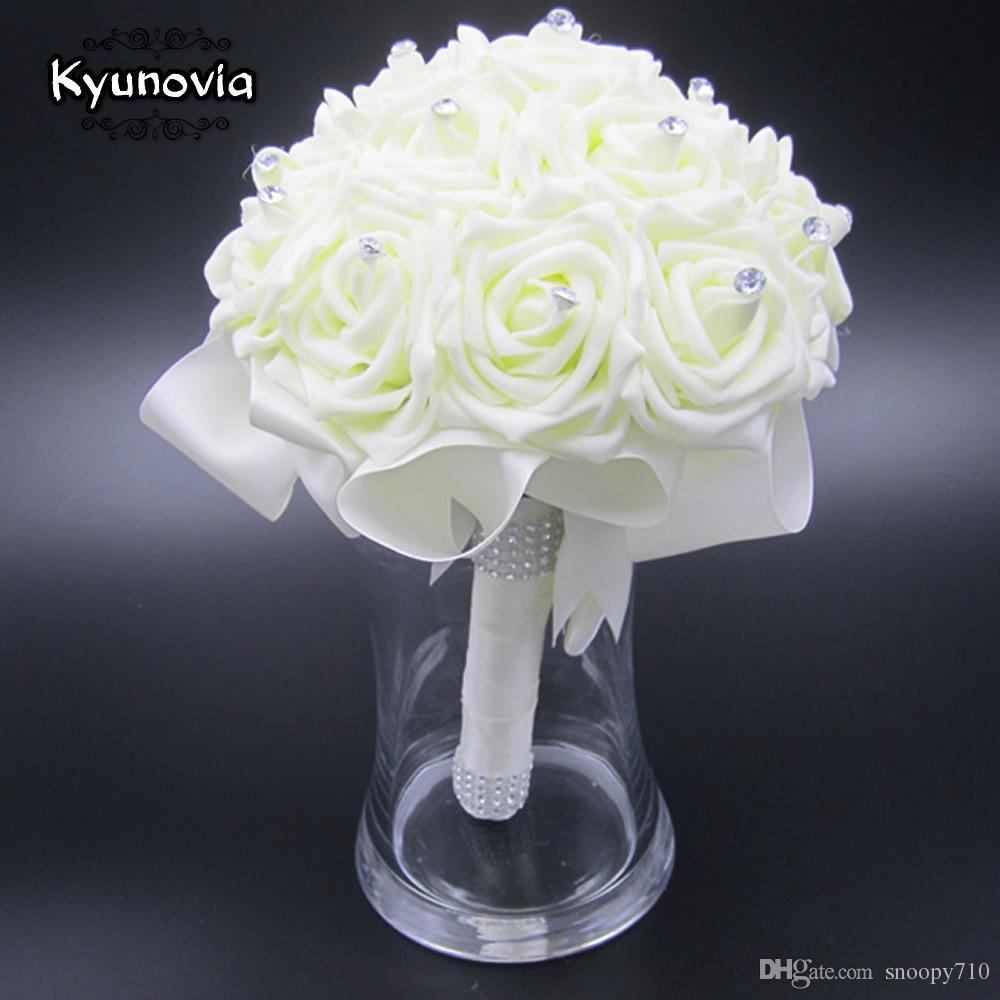 Beautiful Wedding Bouquet Bridal Bridesmaid Flower wedding artificial flower rose bouquet white bridal bouquets FW89