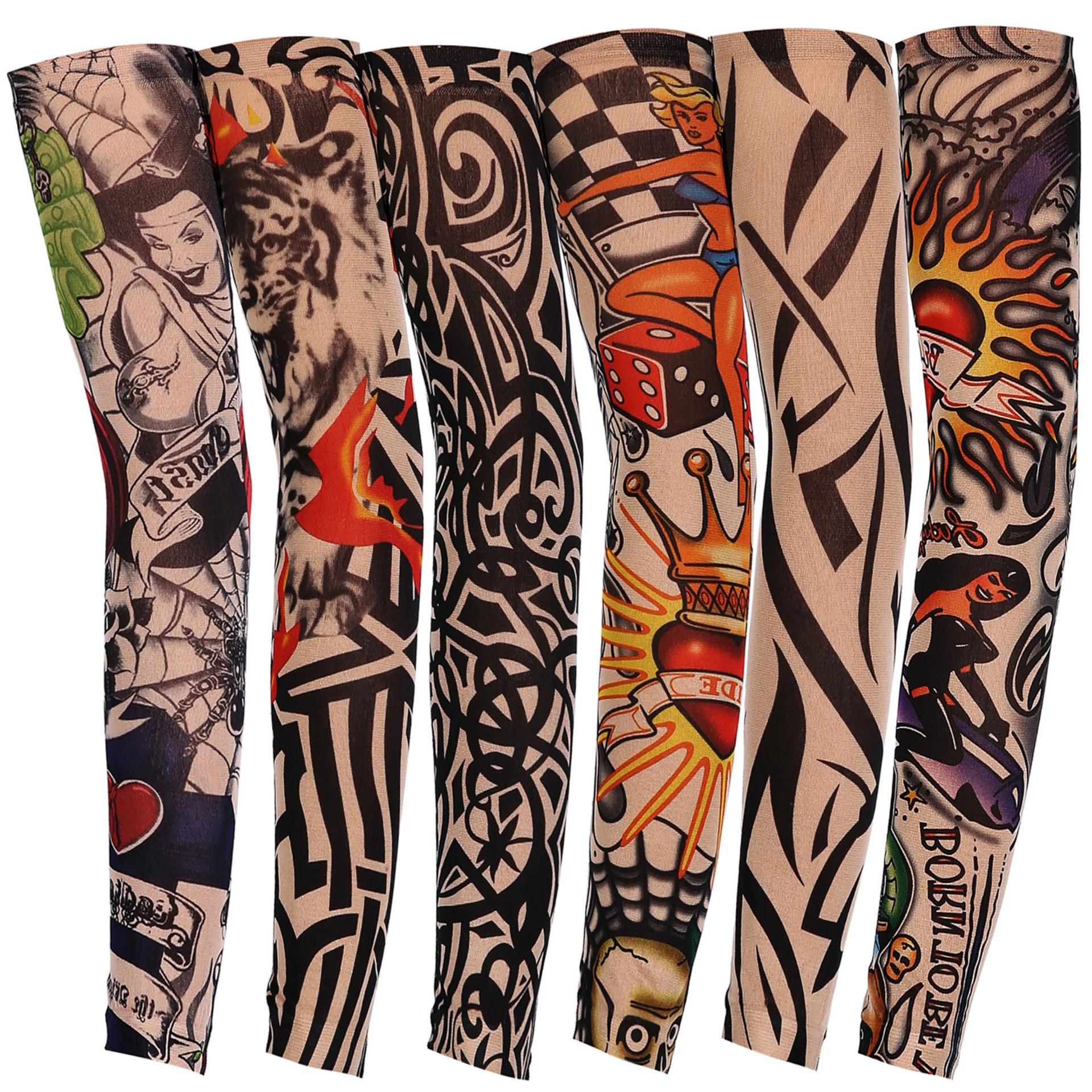 1Pcs Trendy Men Women New high Elastic Fake Temporary Tattoo Sleeve Designs Summer sunscreen Body Arm Warmers 2018