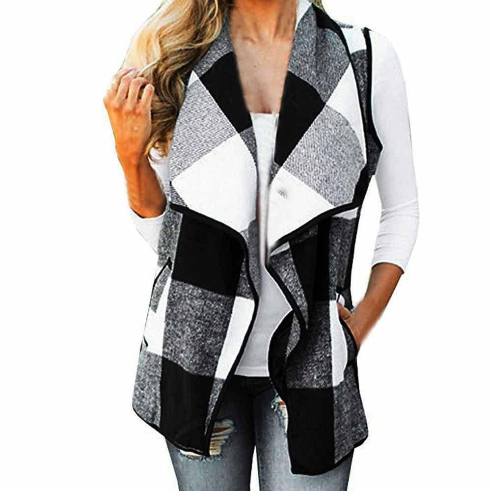 2018 Vintage para mujer chaleco bolsillos a cuadros chaleco chaleco Casual otoño abierto delantero sin mangas de la chaqueta suelta Outwear