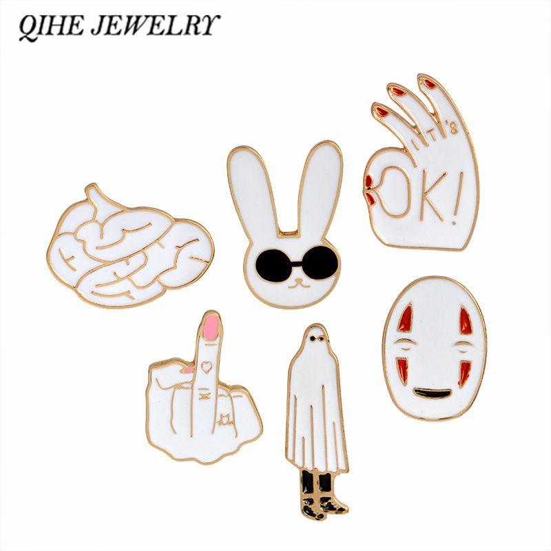 Enamel pins White rabbit mask figure sign brain cute cartoon brooches pin badge Women jewelry Girl child gifts