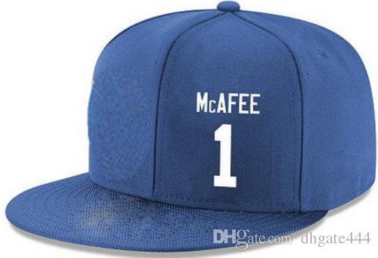 Cappelli Snapback Personalizzato qualsiasi numero Nome giocatore # 1 Cappello # Wayca Mcafee Personalizzato TUTTI I tappi squadra Accetta logo o nome personalizzato ricamo piatto