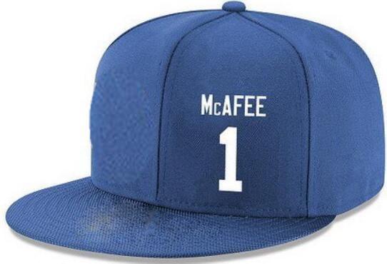 Snapback Hats Custom any player Name Number # 1 Mcafee # 87 Wayne hat Personalizado TODO gorras de equipo Aceptar logotipo o nombre de bordado plano por encargo