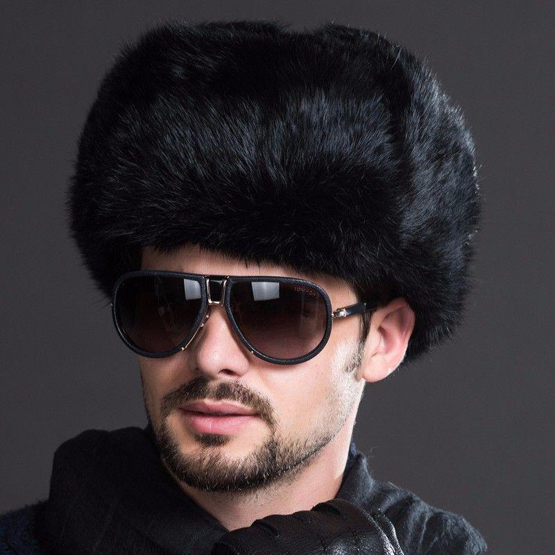 Naiveroo Moda Masculina Russa Masculina Inverno Quente Fur Bomber Chapéus Preto Sólida Engrossar Earflap Caps Leifeng Chapéus De Neve Aquecedor de Orelha