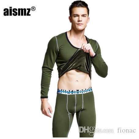 Aismz Bielizna Hotwinter Mens Ciepła bielizna termiczna Męskie Długie Johns Thermal Underwear Zestawy Grube Plus Velvet Long Johns Sets