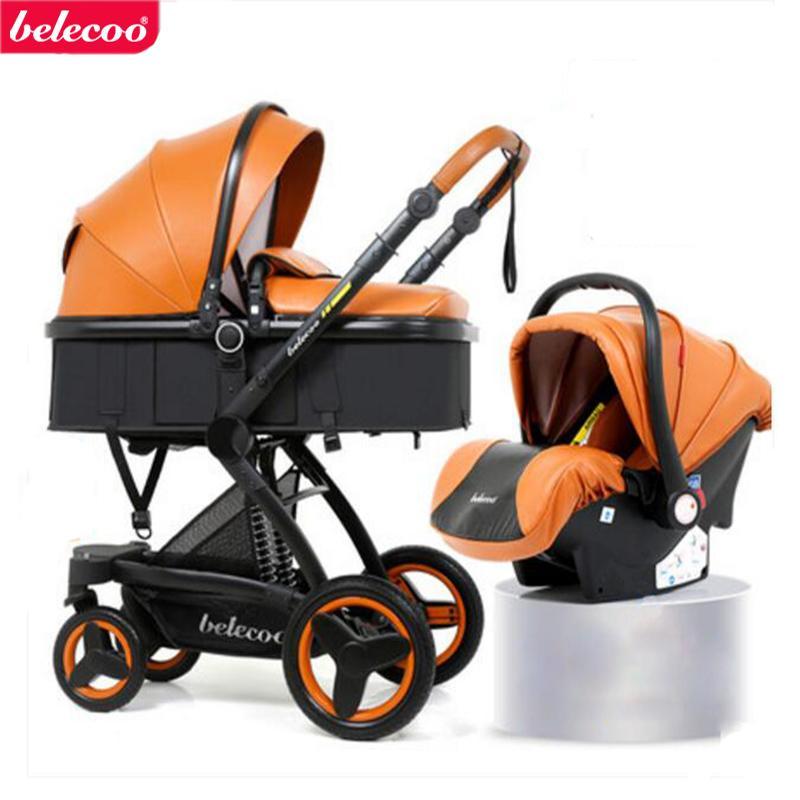 Carrinho de bebê Belecoo 2 em 1. 3 em 1 Pode sentar e deitar-se dobra Carrinho de passeio absorvente de duas vias Eco-couro