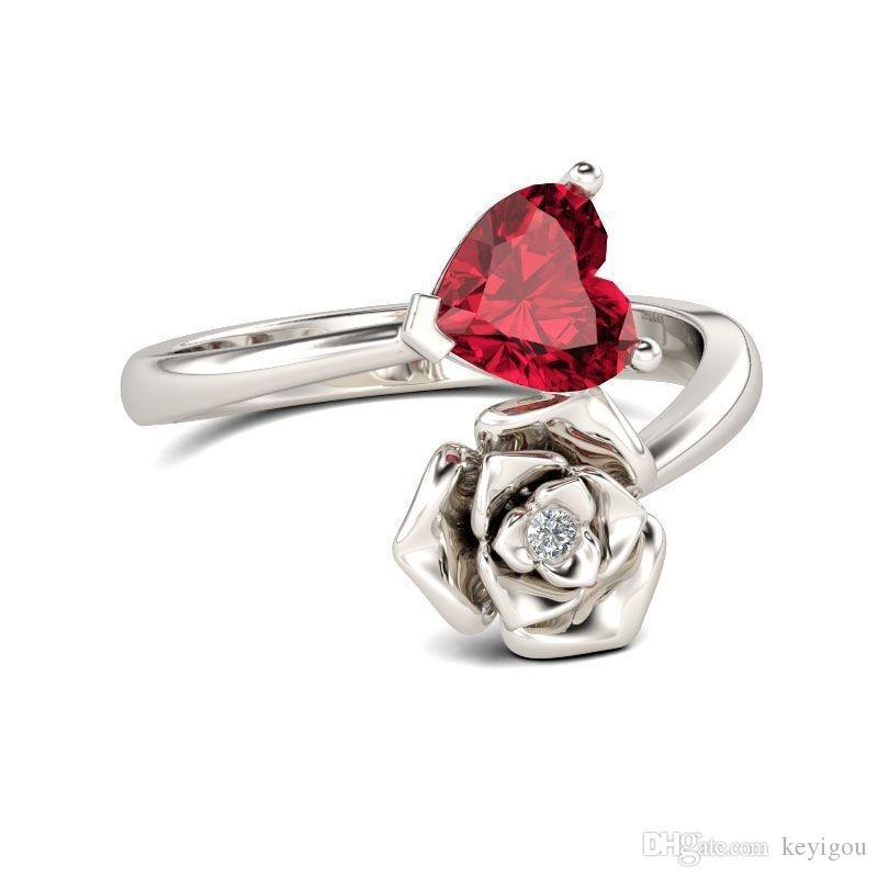 2018 New Creative Femmes Bijoux euroaméricains coeur rouge et Zircon Fashion Ring Partie Simple Rose Fleur femmes Bijoux cadeau
