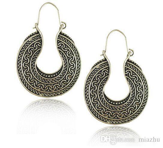 Noel Hediyesi Kendra Stil Sophee Alaşım Çerçeve Oval Küpe Antik Gümüş Küpe Moda Kadınlar için Dangle Küpe