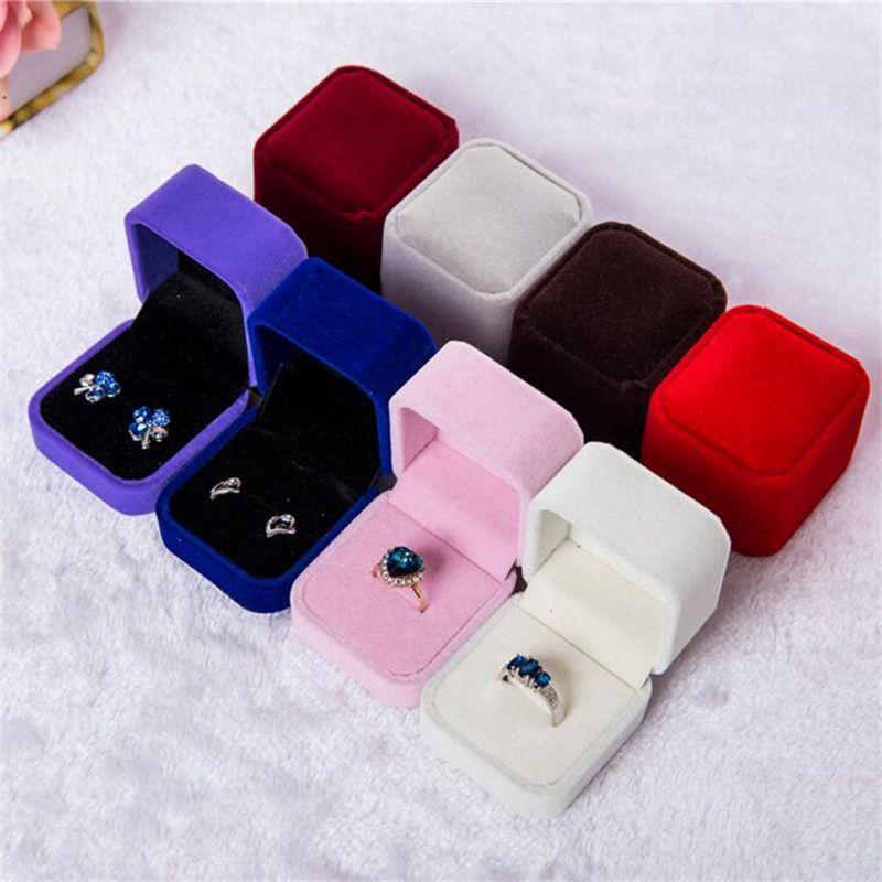 패션 약혼 반지 상자 웨딩 보석 귀걸이 홀더 저장 상자 보석을위한 선물 포장