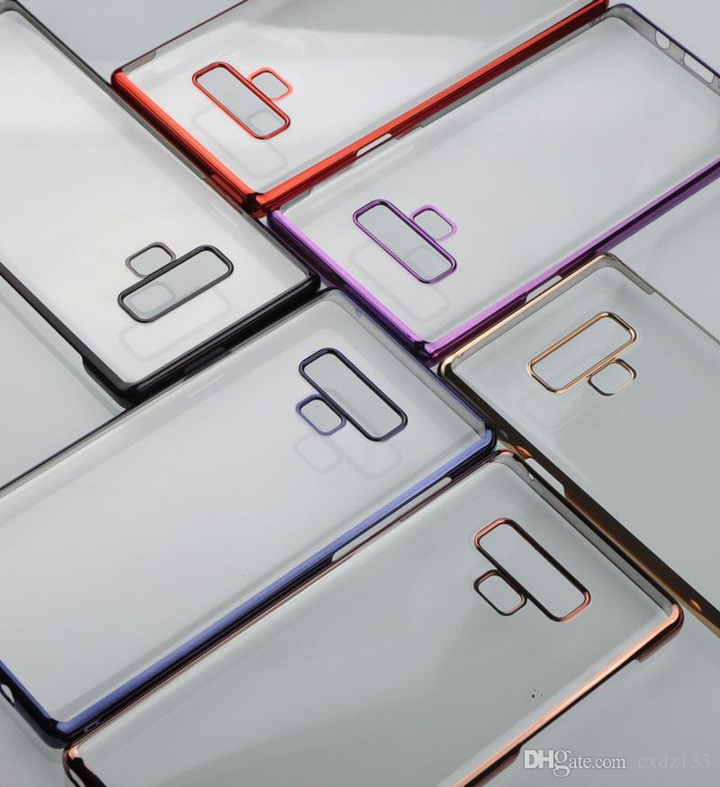 50ocs / lot 삼성 Note9 투명 휴대폰 도금 풀 패키지 하드 쉘 보호 슬리브 무료 배송