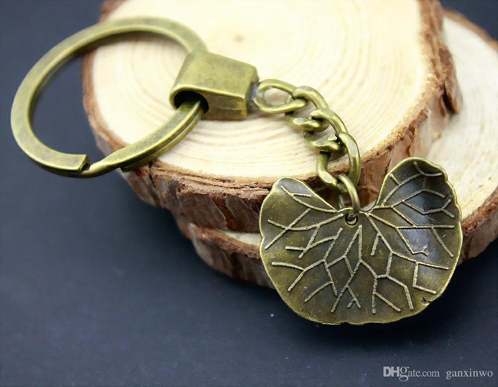 6 Stück Schlüsselanhänger Frauen Schlüsselanhänger für Auto-Schlüsselanhänger mit Anhängern Lotusblatt 21x27mm