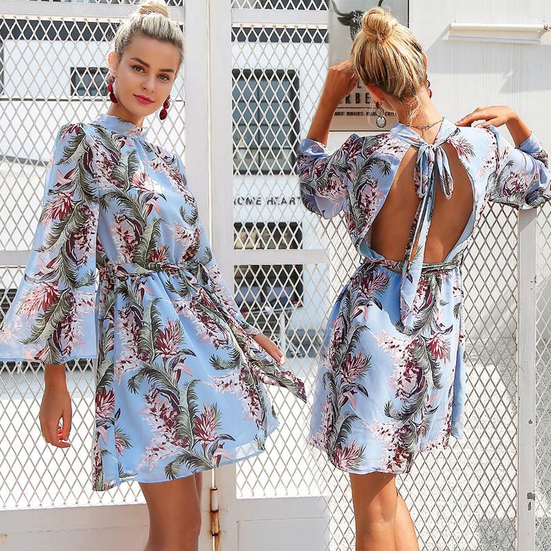 Women Short Dress Female Summer 2018 New Printing Sexy Backless Design Trumpet Long Chiffon Sleeve Mini Skirt for Girls