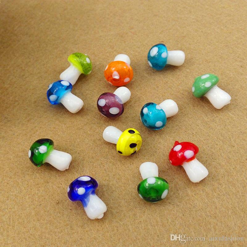 50pcs/lot Mix Color 10x14mm Handmade Lampwork Beads Mushroom Shape Glazed Lampwork Loose Beads DIY Bracelet Jewelry Making Material