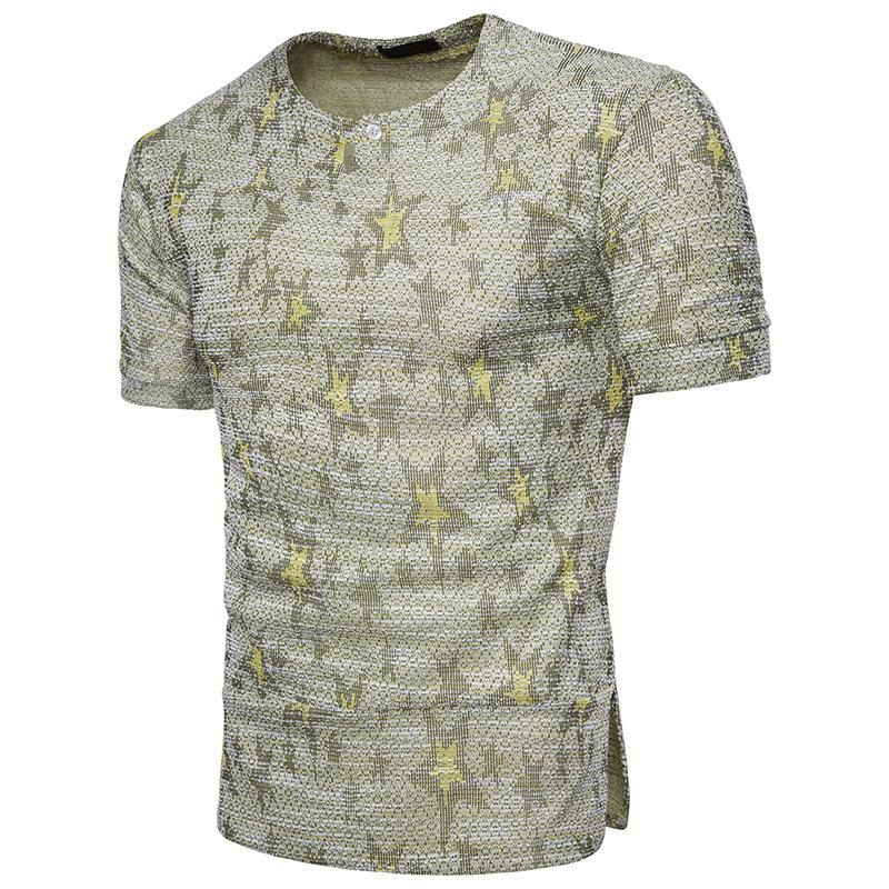 Men's T-shirt African wind design jacquard decoration fashionable dynamic men's short sleeves fashionable breathable T-shirt.