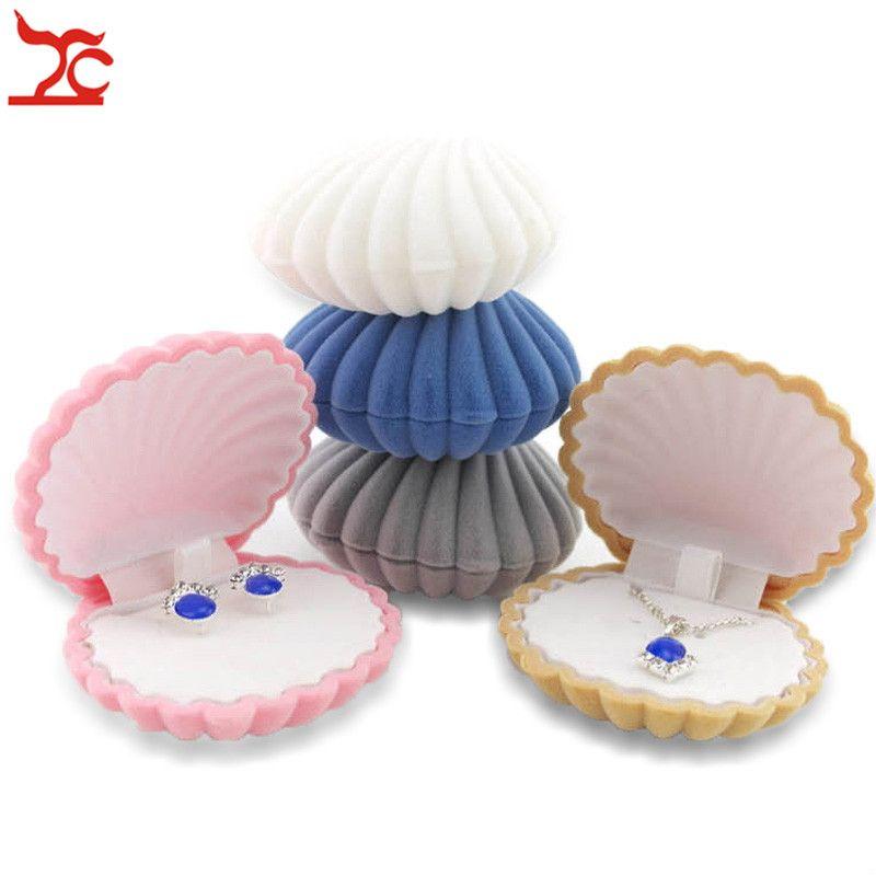 10 unidades forma de concha encantadora de terciopelo boda anillo de compromiso caja para pendientes collar pulsera exhibición de la joyería caja de regalo titular