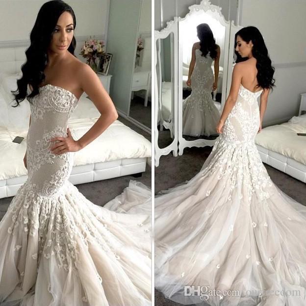 2019 Elegante Do Vintage Sereia Vestidos De Casamento Querida Rendas Apliques Vestido De Noiva para a Nupcial Da Varredura Do Trem País Vestido De Noiva Custom Made