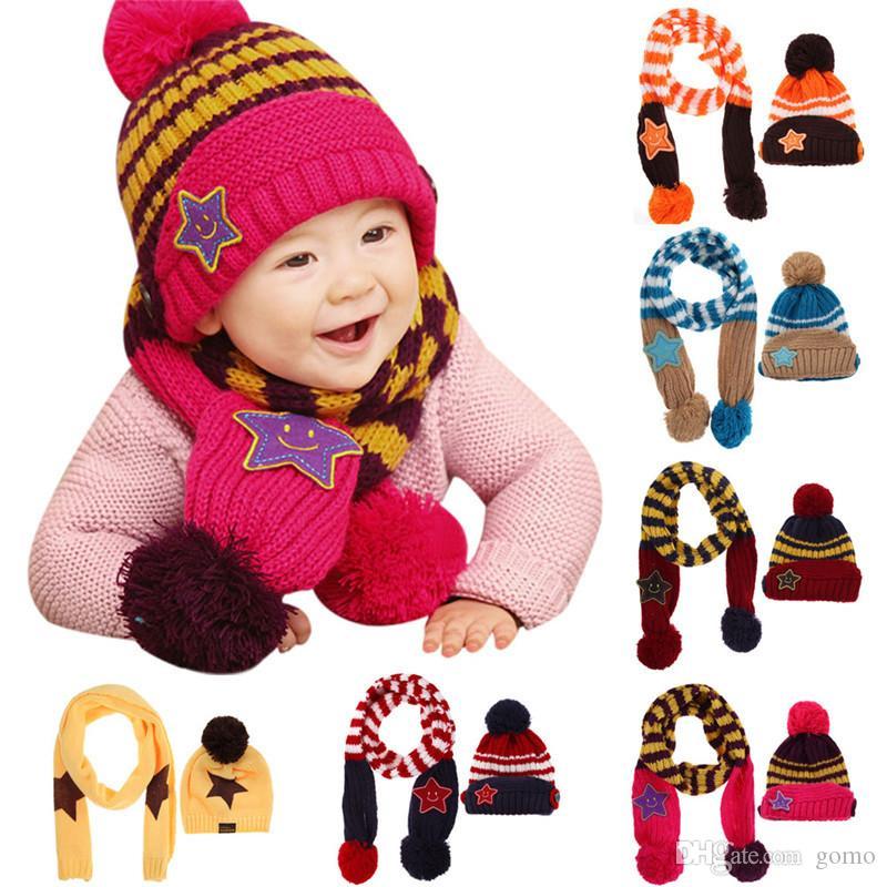 Belle New Winter Enfants Chapeau Sourire Star Imprimer Enfants Skullies Bonnets Écharpe Chapeau Ensemble pour Bébé Garçons Filles Bébé Tricoté Chapeaux Casquettes