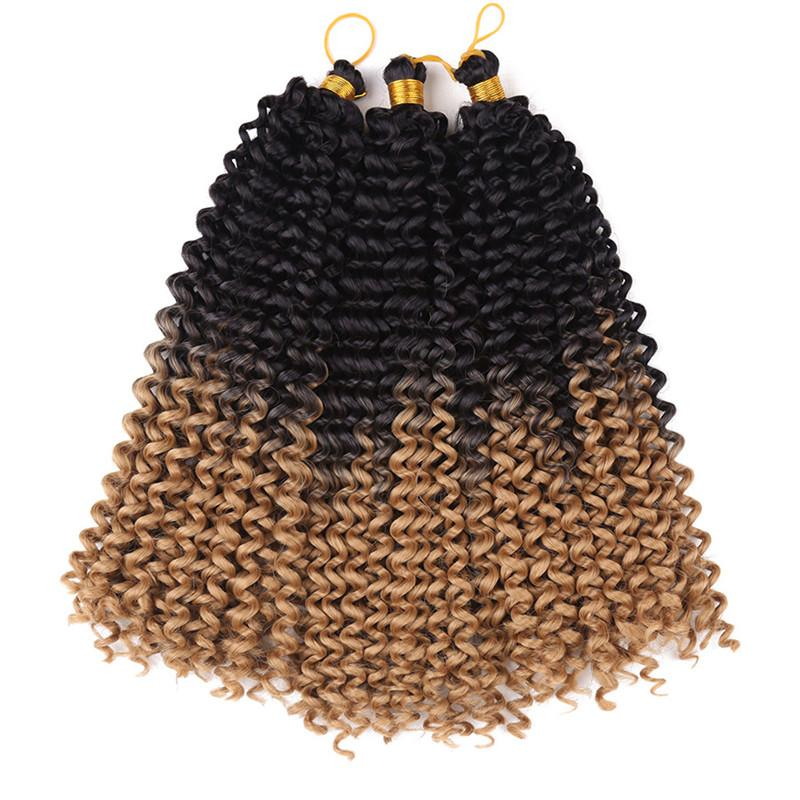 "Jerry Curl Weave Ombre Synthetic Braiding Hair Bulk 14""inch Freetress Braids Synthetic Crochet Water Wave bulk for women 3pieces full wear"