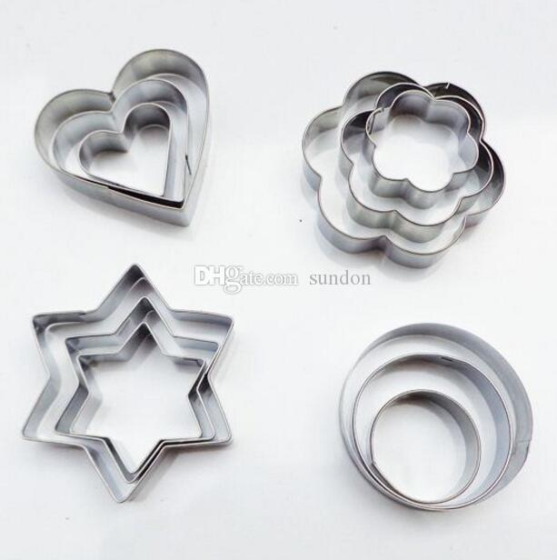 Cookie Cutter 24 Pcs/set Stainless Steel Fondant Cake Baking Mold Round Heart Flower Star Shape Biscuit Moulds