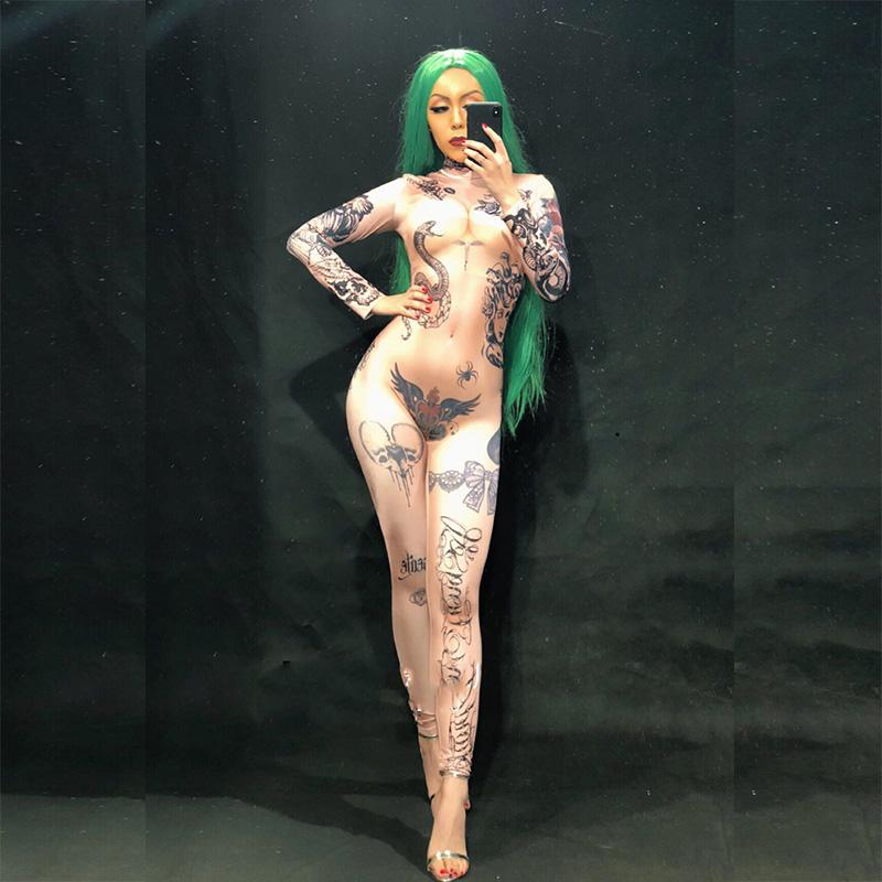 Mulheres Nuas Tatuagem Impressão 3d Sexy Jumpsuit Boate Bodysuit Stage Wear Wear Dancer Singer Desempenho Roupas