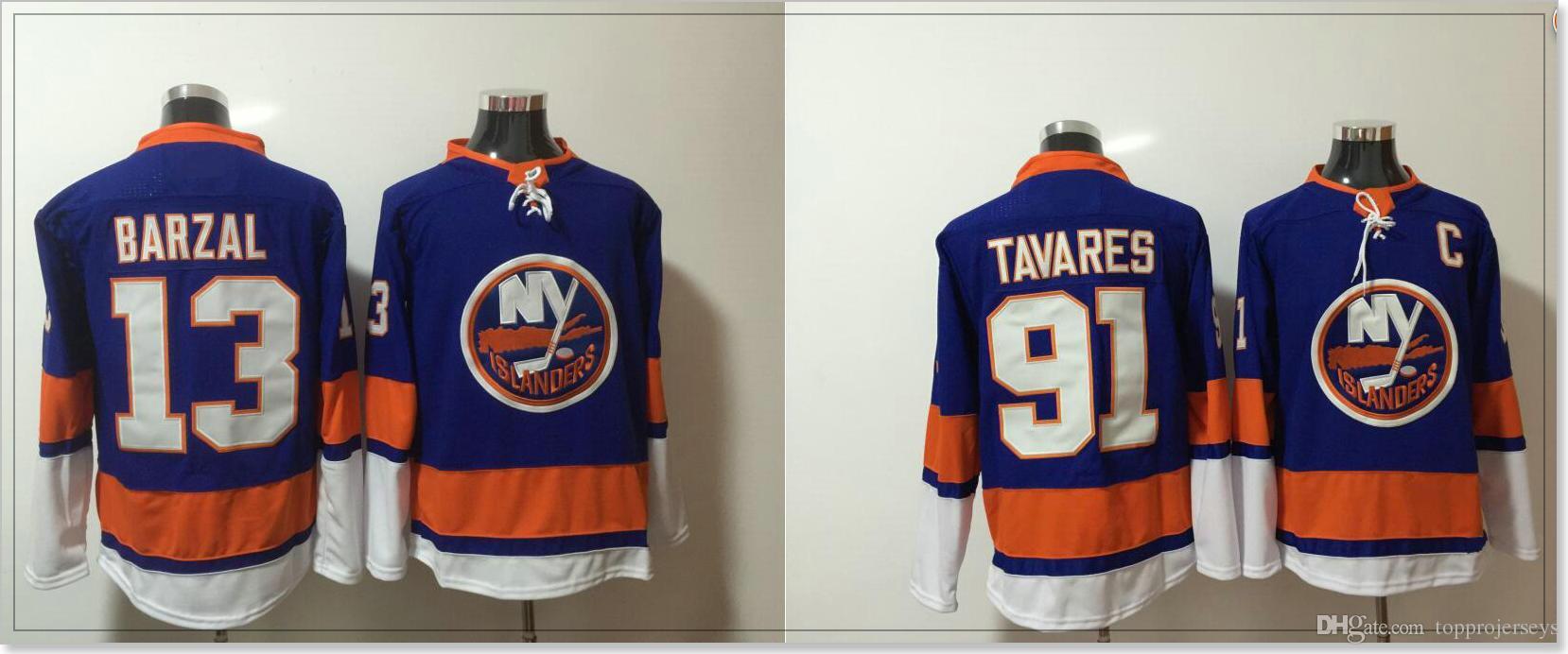 New York Islanders #91 John Tavares 13 Mathew Barzal Vintage Mens Ice Hockey Uniforms Shirts Sports Team Cheap Jerseys Stitched Embroidery