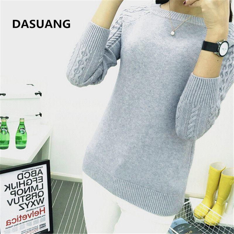 Dasuang свитера женщины 2018 зима О-образным вырезом с длинным рукавом пуловеры вязаный свитер женский теплый топы D056 S18100803