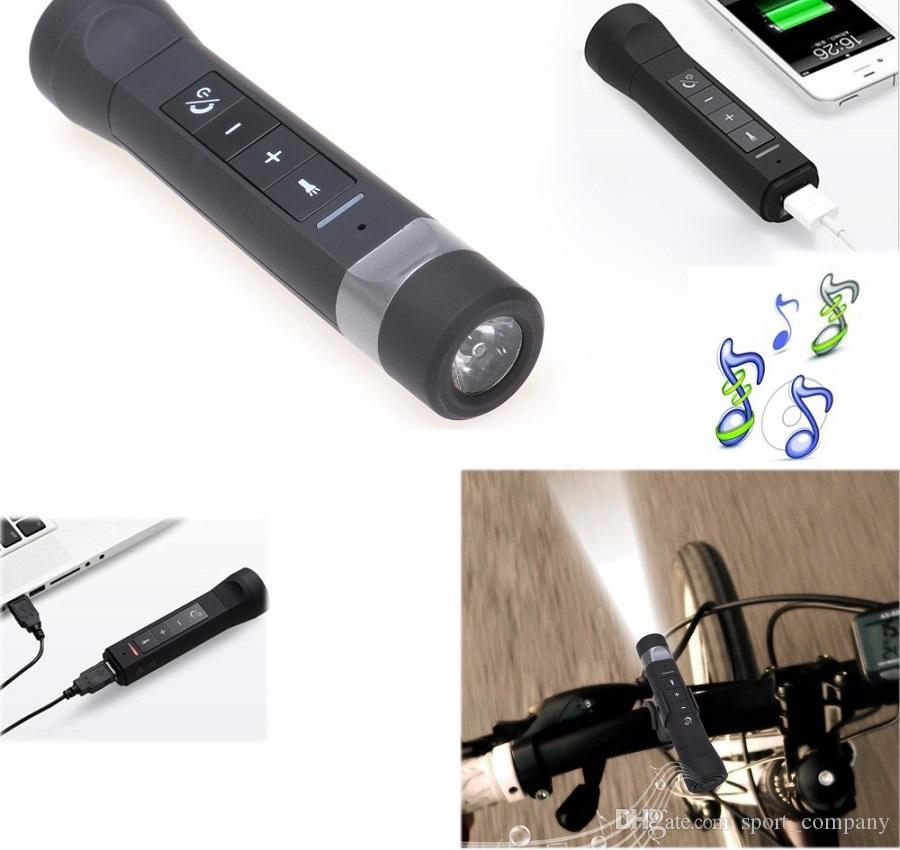 Bluetooth Speaker USB Rechargeable Bicycle LED Flashlight Music Player Torch Lamp bike Cycling Light With Power Bank