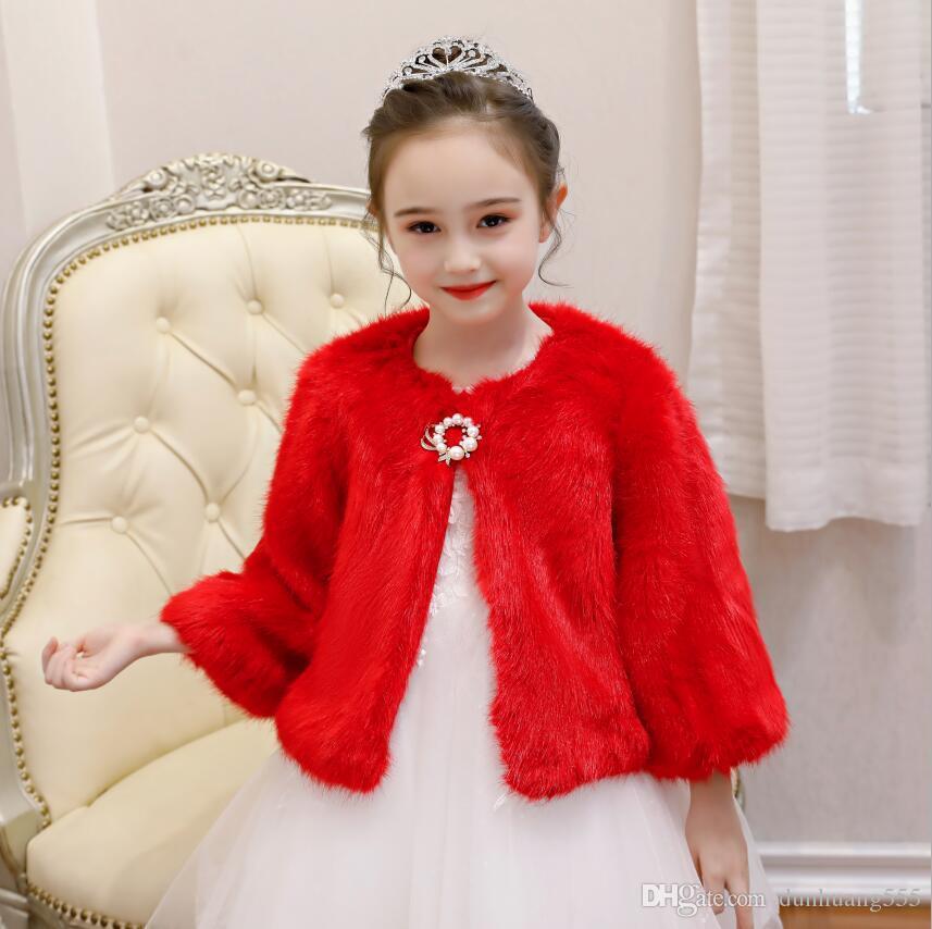 New Little Girls Red Faux Fur Cappotti e giacche girocollo a maniche lunghe inverno scialle in peluche