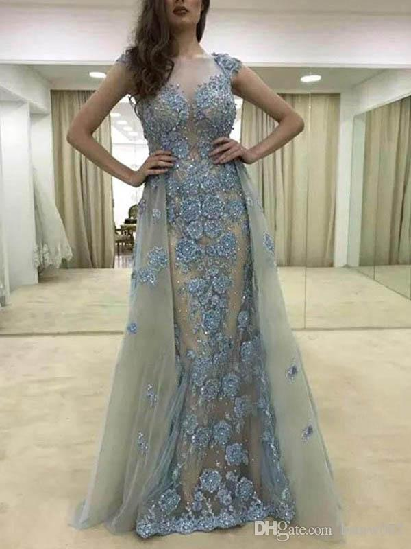 Sexy See Through Sparkly Cap Sleeve Sheath Evening Dresses Luxury Lace Appliques Beaded Long Evening Gowns Detachable Prom Party Dresses