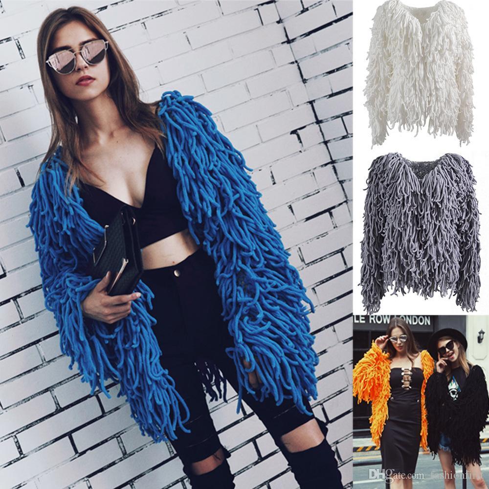 Trendy Örme Palto Moda İnce Kürk Fringe Coat Casual Patchwork Dış Giyim Kürk Palto Kadın Kısa Püskül FauxFurs mont