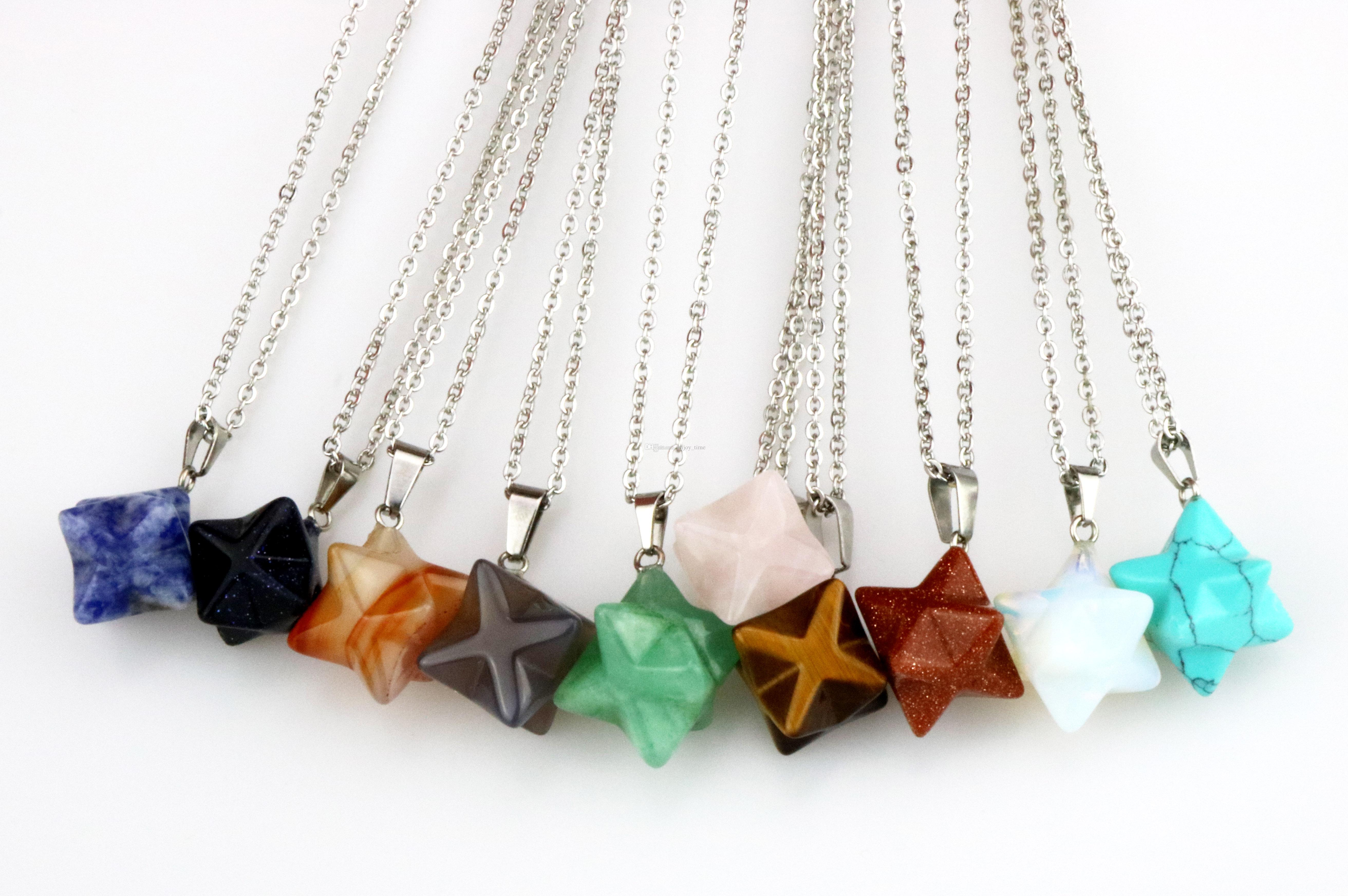 Bohemian Natural Stone Necklace for Girl Turquoise Opal Pink Crystal Lazuli Polyhedral Reiki Pendant Necklace