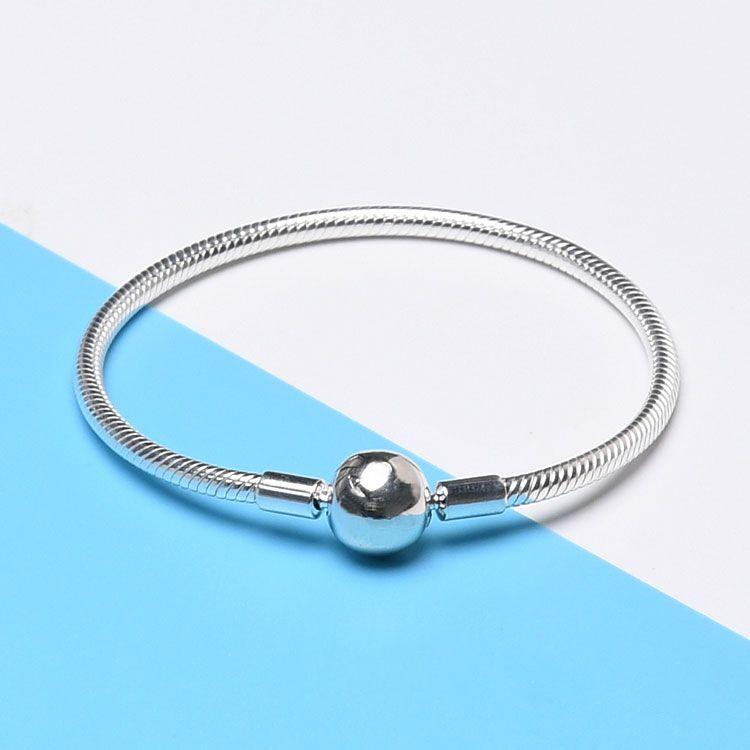 925 Sterling Silver Smooth 3MM Snake Chain European Beads encaja Pandora Bracelet Bangle Chain Jewelry con Logo regalo para hombres mujeres