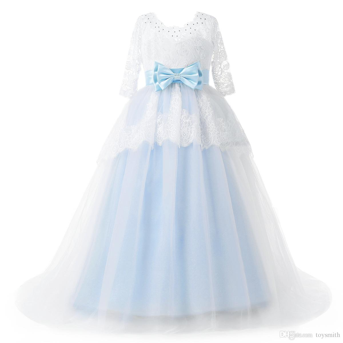 2018 New Fashion Tulle Jewel Lace Applique Half Sleeve Beaded Bow Flower Girl Dresses Sash Children's Pageant Dress Free Shipping
