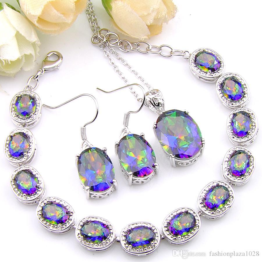 Ovale gioielli colorati Mystic Topaz 925 collana in argento zircone Bracciali Orecchini Pendenti Wedding Luckyshine fashion-forward