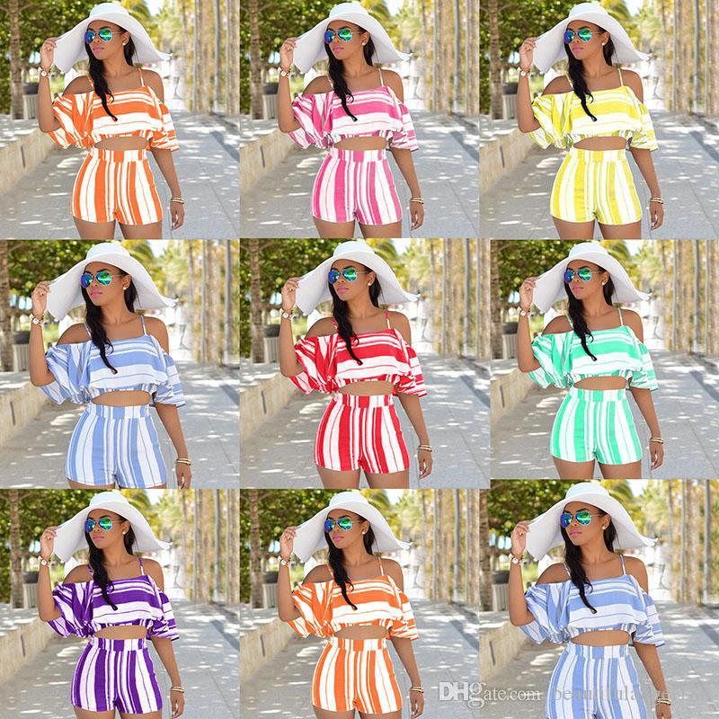 Women two piece sets New Flounced off shoulder crop tops + Wide leg shorts Fashion stripes Bohemia Beach short sets 7 colors