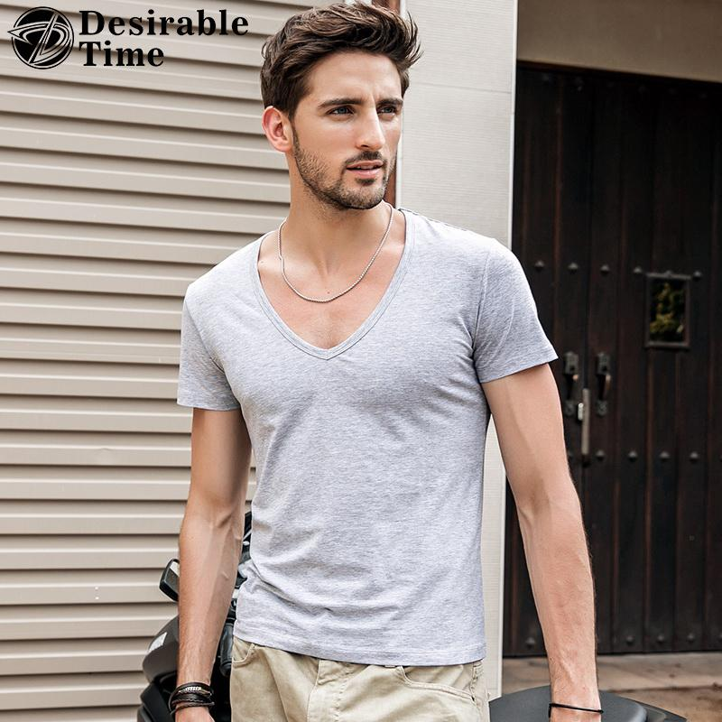Summer Style Deep V Neck T Shirt Men M-3XL Fashion 2018 Brand Mens Tee Shirts Short Sleeve Hip Hop Casual T Shirts for Men DT379