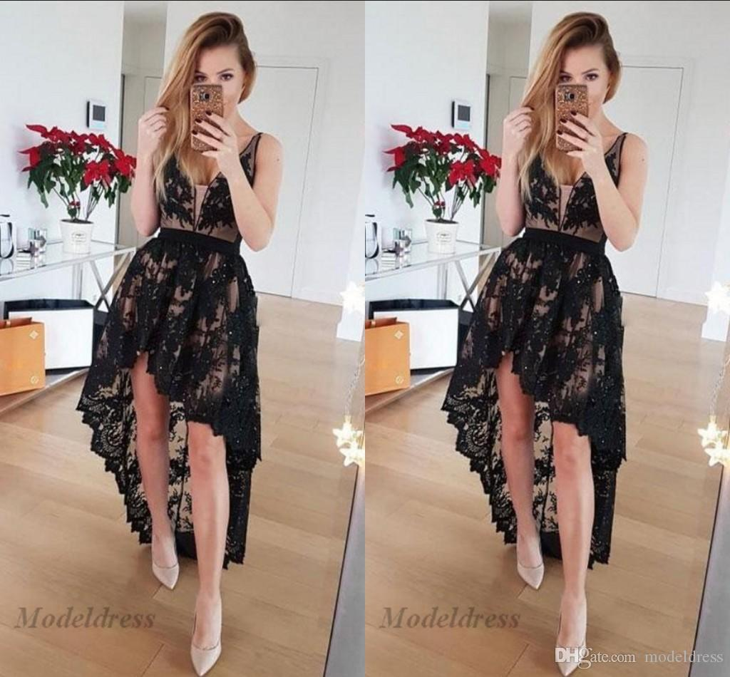 Sexy High Low Prom Dresses Lace Appliques Deep V Neck Spaghetti A Line Women Formal Evening Gowns with Lining Special Occasion Party Dress