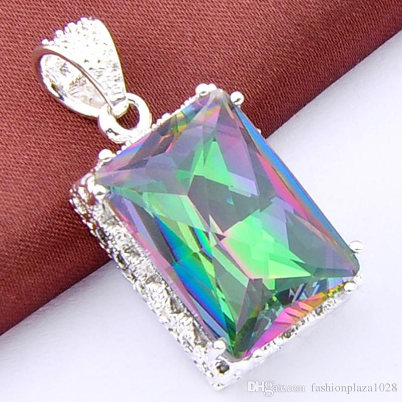 Best Seller 5 PCS/Lot Holiday Jewelry Gift Square Vintage Colored Mystic Topaz Gems 925 Silver Pendant Necklace P0886
