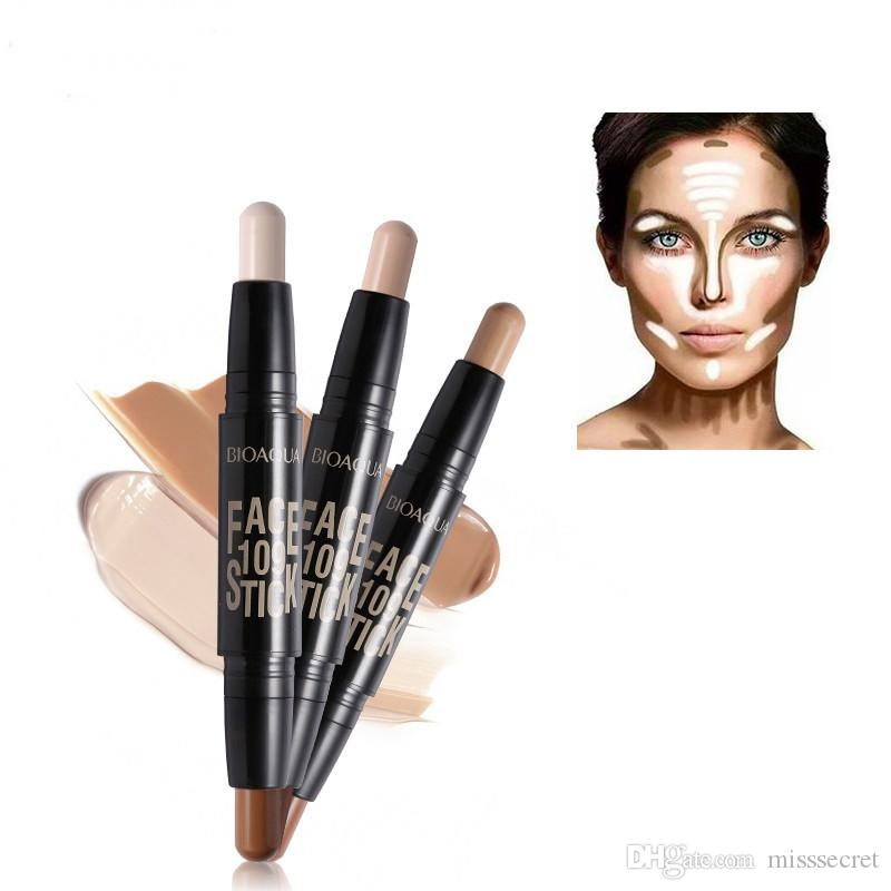 BIOAQUA Double Tête 3D Bronzer Surligneur Bâton Maquillage Visage Crayon Correcteur Fondation Bâton Crème Texture Contour Crayon Maquiagem
