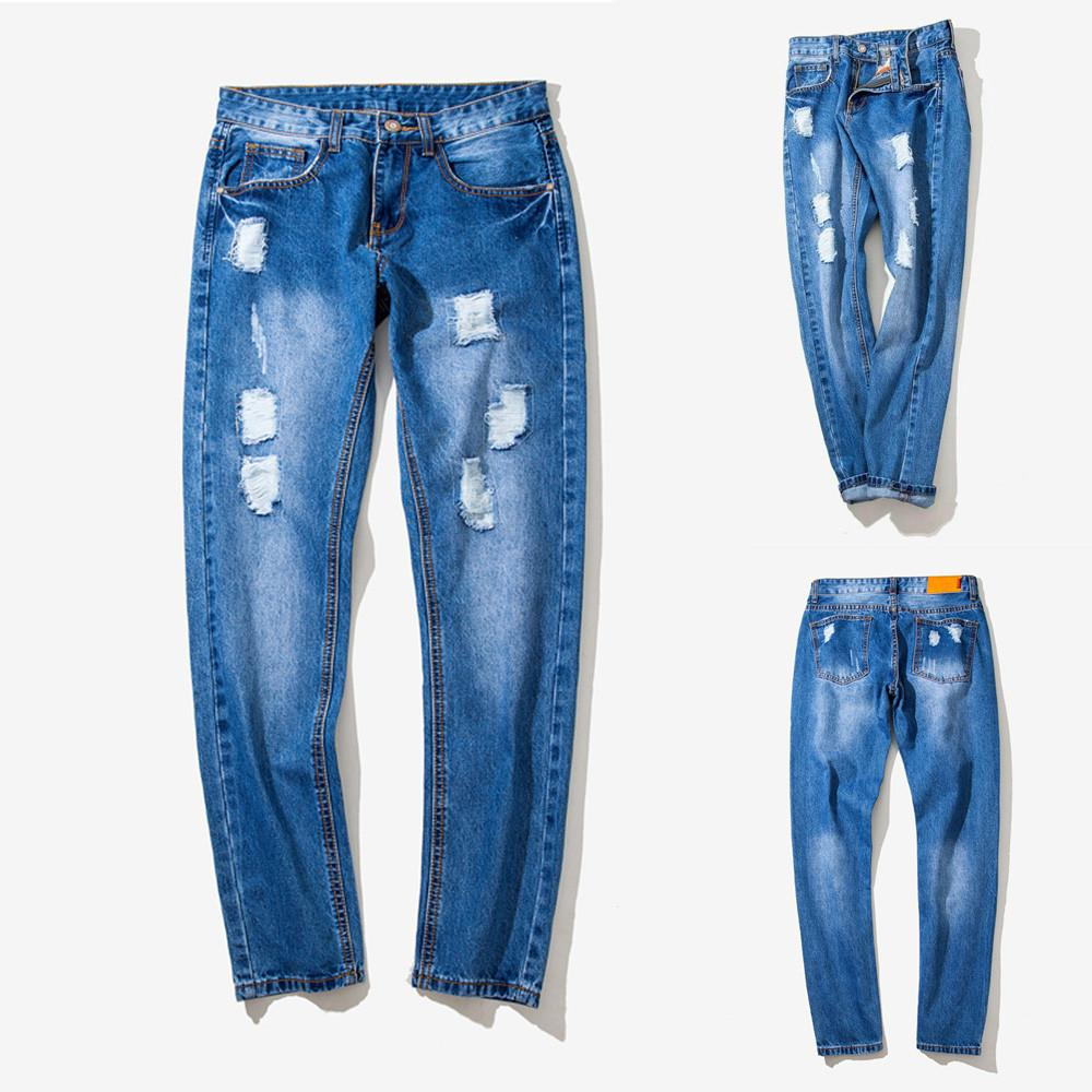 Sunfree Hot Selling Free shipping Men jeans para hombre Slim Solid Hole Pencil Pants Vintage Fashion Casual New Trend 3L55