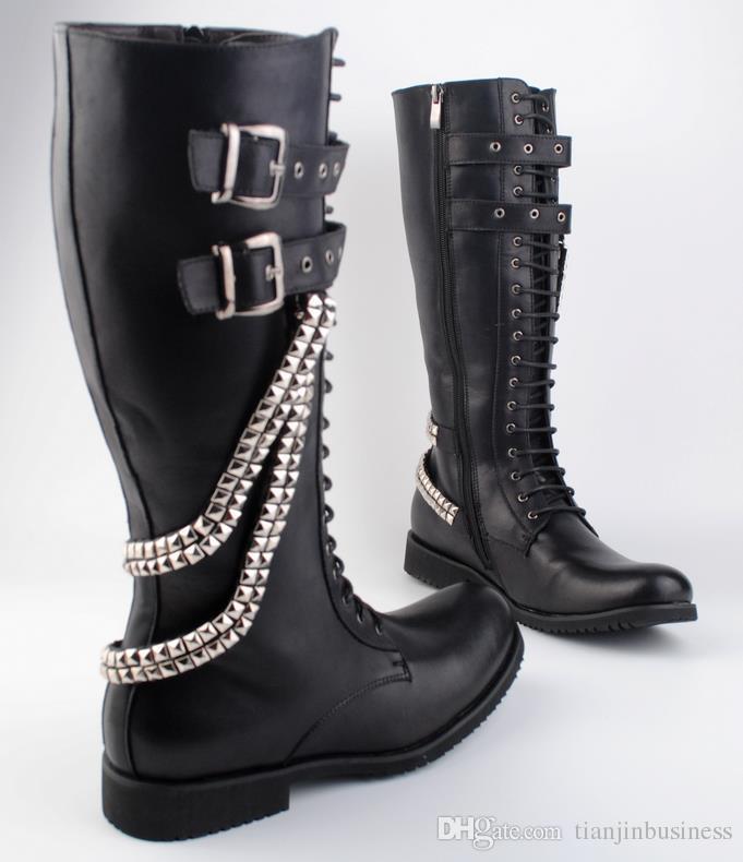 Wintermode Lace Up Hohe Herren Leder Version Flache Kette Trend Stiefel Metall Lange Koreanische Martin Von Männer Großhandel MVqSpzU