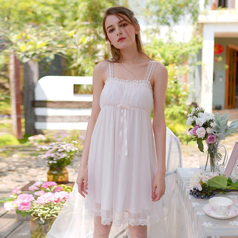 Court Lace Sexy Mesh Nightdress 3 цвет ночная рубашка принцесса без рукавов белье 2018 дамы винтажный спагетти с бантом пижамы