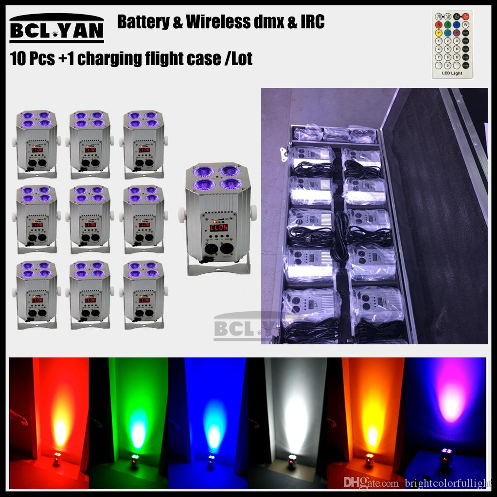 Stage lighting rechargeable 4x18w rgbwa uv 6 in 1 wireless dmx battery led par party uplight for wedding 10 lights with case