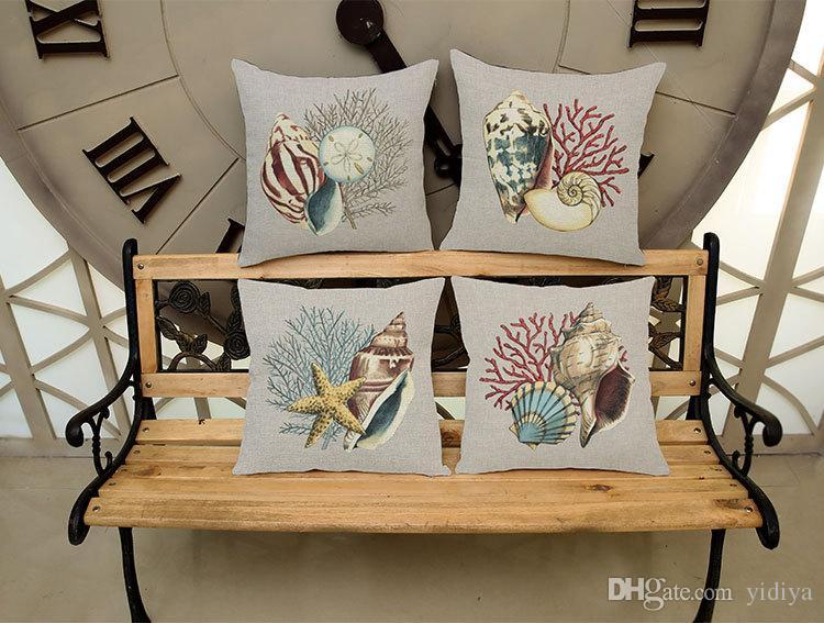 Sea Shell Starfish Conch Printed Cotton Linen Pillowcase Decorative Marine Pillows Cushion Cover Use For Home Car Office Almofadas Cojines