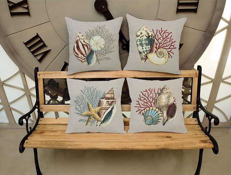 Conchiglia di mare Conchiglia Conchiglia di cotone stampato Federa decorativa Cuscini marini Cuscino Uso per la casa Car Office Almofadas Cojines
