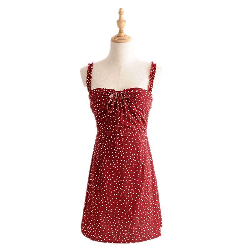 Dot Print Womens ElegantSpaghetti Strap Dress Chiffon 2018 Summer New Womens Chest Lace Decoration Party Beach Strap Dress